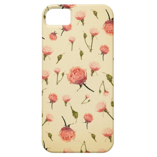 Floral vintage pink girly offwhite 1920s art deco iPhone SE/5/5s case