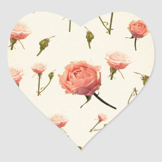 Floral vintage pink girly offwhite 1920s art deco heart sticker