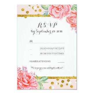 floral vintage pink gold stripes wedding rsvp card
