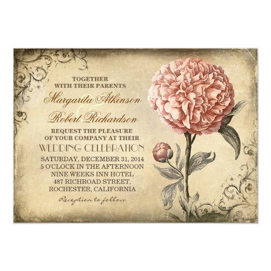 Floral Vintage Pink Peony Wedding Invitations – Floral Vintage Wedding Invitations
