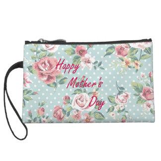 Floral Vintage Print - Happy Mother's Day Wristlet