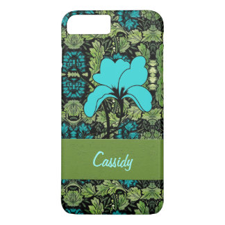 Floral Vintage Print in Turquoise and Green iPhone 7 Plus Case