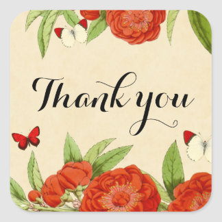 Floral vintage red thank you sticker. square sticker