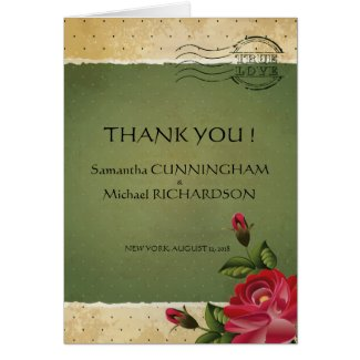 Floral Vintage Rose Green Dots Grunge Greeting Card