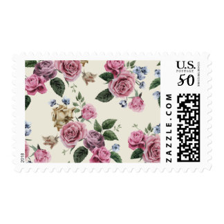 Floral Vintage Rose Pink & Lavender Flowers Postage