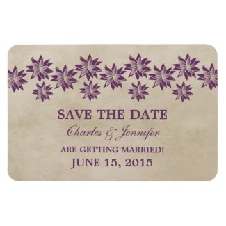 Floral Vintage Save the Date Magnet, Purple