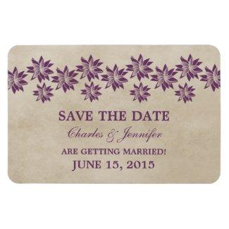 Floral Vintage Save the Date Magnet, Purple