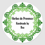 Floral Vintage Soap or Canning Labels Green Classic Round Sticker
