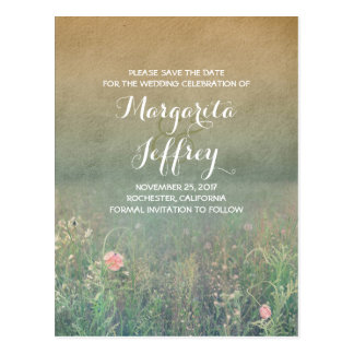 floral vintage summer meadow save the date postcard
