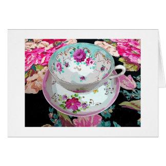 Floral Vintage Tea Cup Blank Card-Thank you Card
