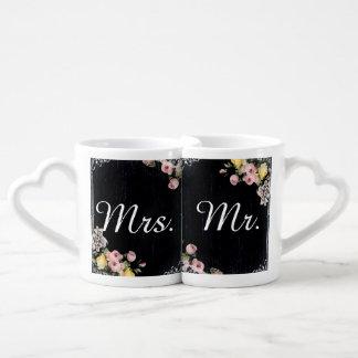 floral vintage typography Chalkboard wedding Coffee Mug Set