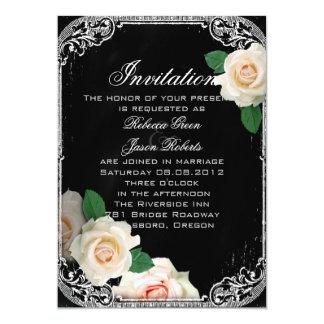 floral vintage typography Chalkboard wedding 5x7 Paper Invitation Card