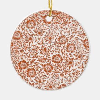 Floral Vintage Wallpaper William Morris Red Patter Ceramic Ornament