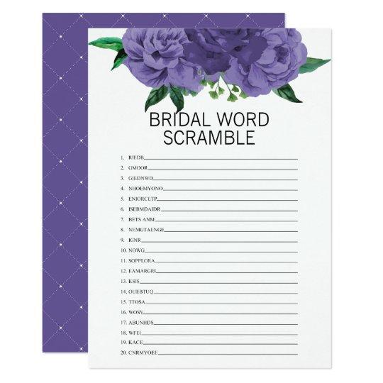 floral violet bridal shower word scramble game invitation