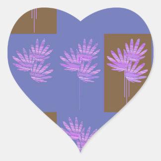 floral violet heart sticker