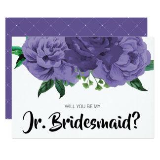 Floral Violet Purple Be My Junior Bridesmaid Card