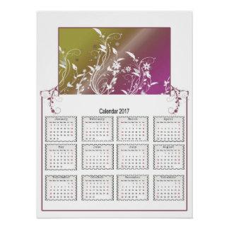 Floral Wall Calendar 2017 Poster