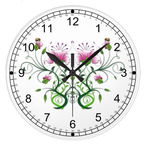 Wall Clock Floral Design : Floral wall clock design zazzle