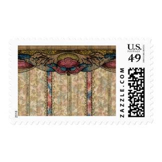 Floral Wallpaper Border Card Postage Stamp