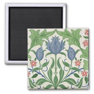 Floral wallpaper design 2 inch square magnet