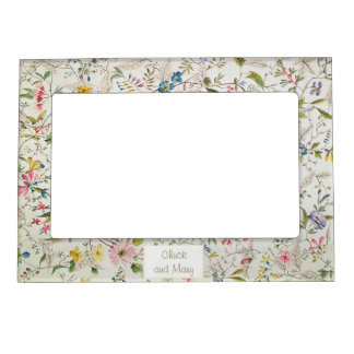 Floral Wallpaper Pattern Magnetic Picture Frame