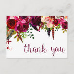 """Floral Water Color Thank You<br><div class=""""desc"""">This timeless, romantic design features a burgundy watercolor floral hanging with feather and botanical accents. The writing on the card says &quot;thank you&quot; in a burgundy/purple color. This design is part of Burgundy Boho Botanical Wedding Suite from Printed Paper Designs. Please contact me if you need help with this design....</div>"""