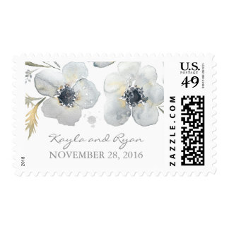 floral watercolor anemones wedding postage