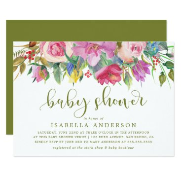 Toddler & Baby themed Floral Watercolor & Baby Shower Script on Green Card