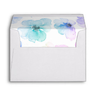 Floral Watercolor Blue Purple Wedding Envelope