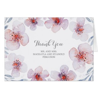 Floral Watercolor Botanical Wedding Thank You Card