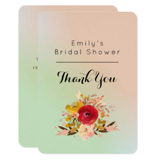 Floral Watercolor Bouquet Bridal Shower Thanks Card