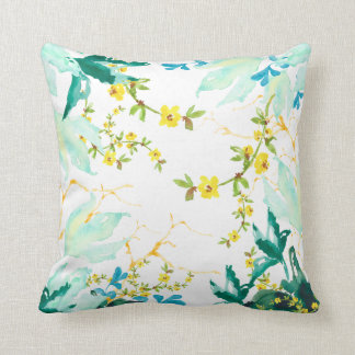 Floral Watercolor Bouquet Collage Throw Pillow
