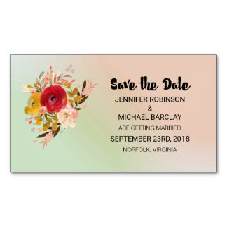 Floral Watercolor Bouquet Wedding Save the Date Business Card Magnet