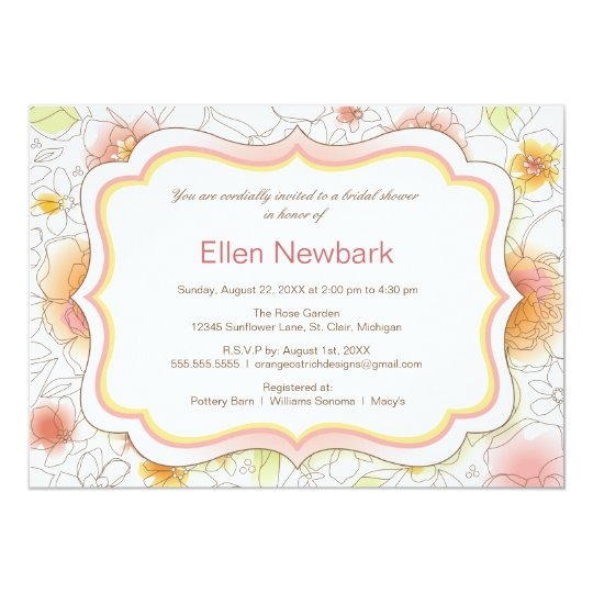 Floral Watercolor Bridal Shower Invitation - Pink
