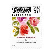 Floral Watercolor Bridal Shower Postage Stamps