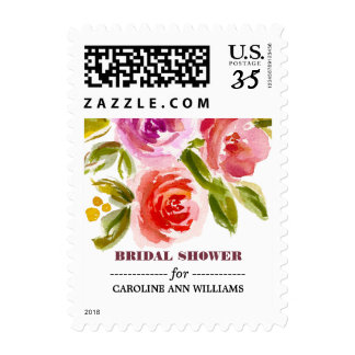 Floral Watercolor Bridal Shower Postage Stamps