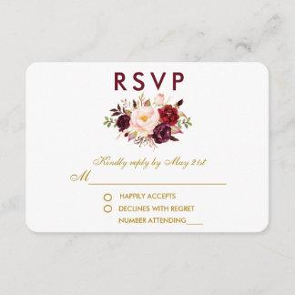 Floral Watercolor Burgundy Gold Wedding RSVP