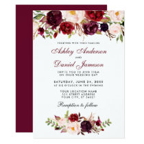 Floral Watercolor Burgundy Wedding Invitation BT