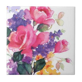 Floral watercolor ceramic coasters tile