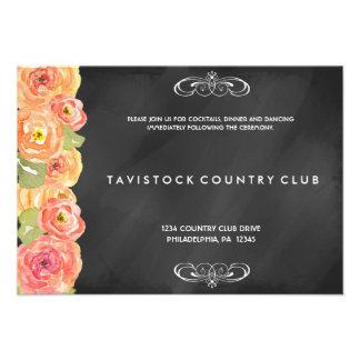 Floral Watercolor Chalkboard Reception Card