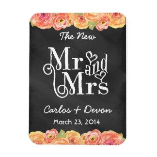 Floral Watercolor Chalkboard Wedding Magnet