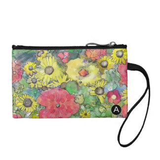 Floral Watercolor Colorful Explosion Coin Purse
