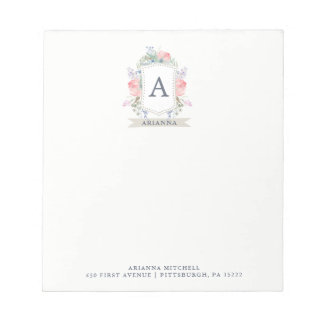 Floral Watercolor Crest with Monogram Notepad