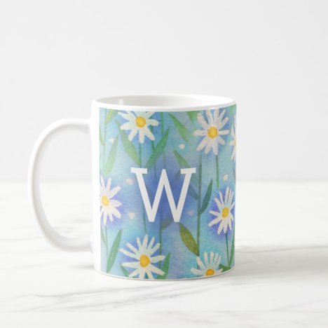Floral Watercolor Daisy Modern Monogram Pink Coffee Mug