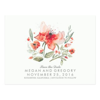 floral watercolor elegant save the date postcard