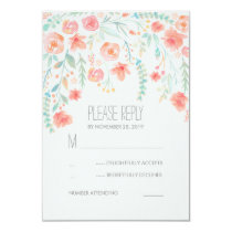 Floral Watercolor Elegant Wedding RSVP Cards