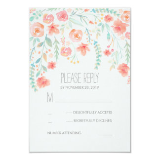 Floral Watercolor Elegant Wedding RSVP Cards