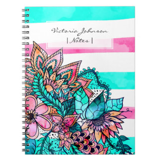 Floral watercolor girly pink teal stripes notebook