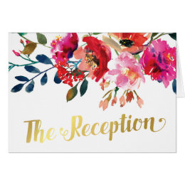 Floral Watercolor Gold Wedding Evening Reception Card
