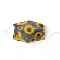 Floral Watercolor Gray Yellow Sunflower Cloth Face Adult Cloth Face Mask